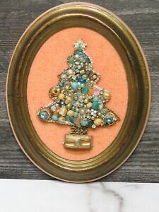 Vintage Handmade Christmas Jewel Tree Display Art Framed Jeweled Made in Italy