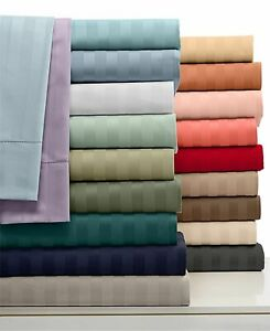 1000 TC Egyptian Cotton Complete Bedding Collection Uk King Size Striped Colors