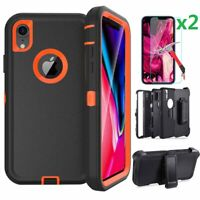 For iPhone X Xs XR XS MAX Rugged Case Belt Clip Fits Otterbox + Screen Protector