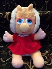 Vintage 1987 Jim Henson Muppet Baby Miss Piggy Plush Stuffed Toy Red Dress Hood