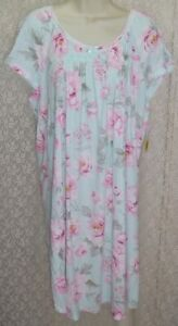 Miss Elaine 1X/2X Cotton Blend Nightgown short cap sleeve Gown Blue Pink Roses
