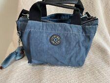 Vintage Kipling Blue Jean Nylon Sugar Satchel bag purse tote w/Michela monkey