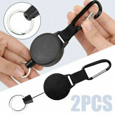 """Key Chain with 2X Badge Rope Retractable Pull Reel Recoil 27"""" Ring"""