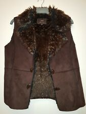 Ladies mole & Faux Fur feel Gilet Body warmer Size M MEDIUM Per Una brown M&S