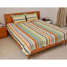 Multi Color Stripe Print Microfiber Quilt and Set of 2 Shams Full/Queen