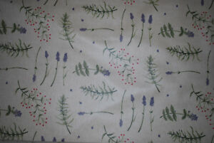 """John Lewis PVC tablecloth fabric """"Herb Garden"""", green, remnant of 2.1m"""
