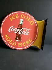 ICE COLD COCA COLA Sold Here DOUBLE SIDED Metal Signs Coke Soda Hanging 14 x 12