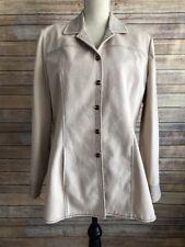 RARE St. John Sport By Marie Gray Women's Tan Long Jacket Snap Button Size M