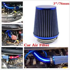 Blue Car 76mm High Flow Short Inlet Cold-Air Intake Mushroom Air Filter Cleaner