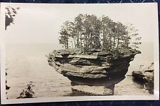 RPPC Michigan MI Turnip Rock Point Aux Barques Trees People Water C 1925