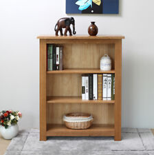 Original Rustic Solid Oak Wooden Small Window Low Narrow Bookcase With 2 Shelf
