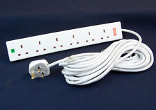 Extra Long Cable 10 Metre 6 Way Surge Protected Mains Extension Lead 6 Socket