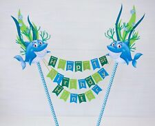 SHARK UNDERWATER SEA cake topper/bunting/banner personalised Birthday