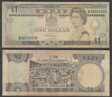 (B1) Fiji 1 Dollar ND 1983 (VG+) Condition Banknote P-81a QEII