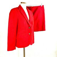 Talbots Womens Wool Blend Solid Red Career Skirt Suit sz 10-8P