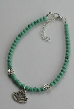 Green Turquoise Glass Beads Lotus Flower Anklet Ankle Bracelet Yoga Jewellery