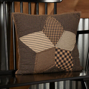 """Farmhouse Star Quilted Accent Pillow Cover 16x16"""" Charcoal Tan Creme"""