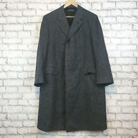Brooks Brothers Men's Wool Vintage USA Made Long Coat Overcoat Size 44 Regular