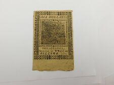 Continental Currency Nov. 29,1775 $6 Six Dollars