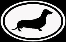 Dachshund Sticker White Oval Dog Puppy Euro Vinyl Decal