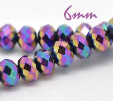 10 facettierte Kristallperlen bunt 6 mm Perlen beads rund Glas