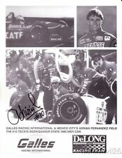 1995 Adrian Fernandez signed Galles DeLong Racing Mercedes Indy Car postcard