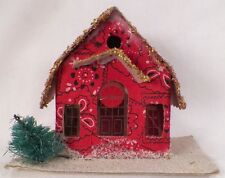Vintage Red Fabric Christmas House Train Yard Putz Japan Ornament Unusual
