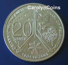 20c , UNC 2001 Centenary of Federation Australian Capital Territory ACT 20 Cent
