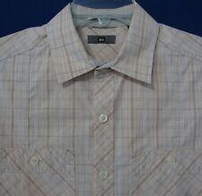 REI Men's Medium Casual Short Sleeve Shirt 100% Cotton Peach Beige Plaid