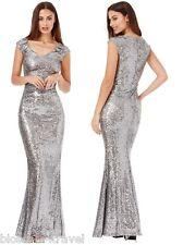 Goddiva Sequin Sweetheart Fishtail Maxi Evening Dress Prom Bridesmaid Ball Gown