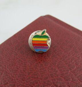 Vintage Apple Macintosh Mac Computer Logo Retro Rainbow Pin Badge