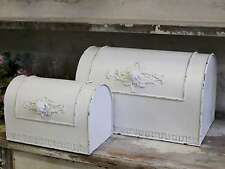 French Antique Style White Metal Kitchen Bread Box -  bb2