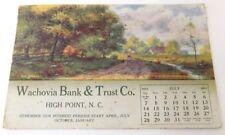Antique July 1912 Calendar Postcard Wachovia Bank & Trust, High Point NC