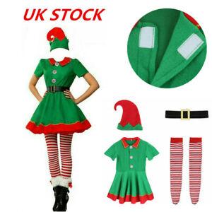 Elf Costume Womens Girls Ladies Christmas Fancy Dress Xmas Santa Helper Outfit