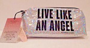 VICTORIA'S SECRET FASHION SHOW LONDON 2014 SILVER LIVE LIKE AN ANGEL MAKEUP BAG
