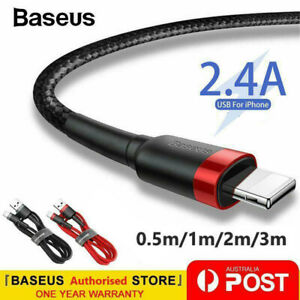 Baseus USB Lighting Charger Cable Data Cord for iPhone 13 iPad 0.5M 1M 2M 3M