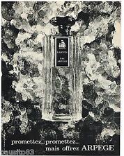 PUBLICITE ADVERTISING 105  1967  LANVIN   parfum EAU de ARPEGE