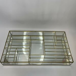 Vintage Glass Brass Curio Display Cabinet 5 Shelf Multi Size Compartments 18x10