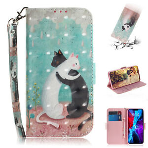 3D Painted Lovely Cat Flip Bracket Hot Wallet Case Cover Skin For Various Phone