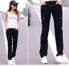 New Womens lady Military overall Cargo Pocket Pants Leisure Trousers Outdoor