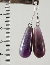 Silver tone purple earrings with natural amethyst teardrop beads