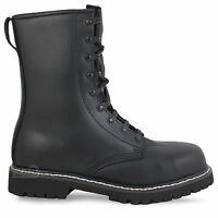 Steel Toe Cap German Army Para Paratrooper Military Leather Combat Boots Black