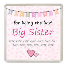 BIG SISTER Coaster 'Thank You For Being The Best' Drinks Mat Fun Novelty Gift