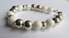 Source Sterling Silver & White Agate Charm Carrier Bracelet*Brand New