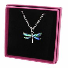 "Dragonfly Necklace Abalone Paua Shell Pendant Silver Plated Jewellery 18"" Boxed"