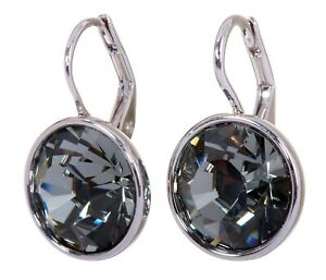 Crystals From Swarovski Black Diamond Bella Earrings Rhodium Authentic 7171v