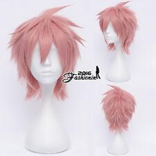 FULL Vocaloid vy2 Anime Resistente Al Calore Cosplay rosa a strati parrucca di capelli corti