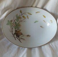 Oval Serving Bowl Dish Halsey China Swirling Leaves Pattern Japan Vintage 1950s