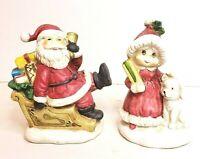 Vintage Brinn's Mr & Mrs Santa Claus with Puppy Figurines Christmas