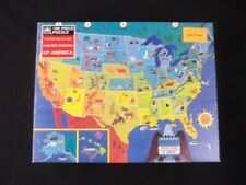 Vintage Golden 100 Piece Jigsaw Puzzle Picture Map of The United States New 1989